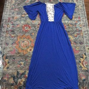 Blue maxi dress medium lace crochet back
